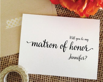 Personalized Will you be my matron of honor Card Will you be my Matron of honor gift Matron of honor proposal card  (Lovely)