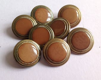 Vintage buttons, round, 21mm, metal old gold synthetic Center, set of eight.