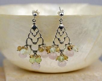 Chandelier Earrings - Gemstone Earrings - Silver Earrings - Cluster Earrings- Pink Quartz Earrings - Dangle Earrings - Quartz Earrings