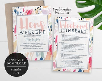 Printable Hens Weekend Invitation | Editable PDF | Bachelorette Weekend | Hens Party | Weekend Itinerary Invitation | Pink | Colours