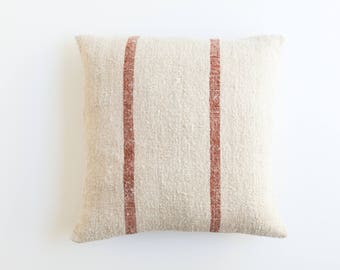 "Red Striped Vintage Grainsack Pillow Cover | 18"" x 19"""