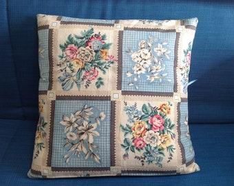 "Handmade cushion cover, vintage barkcloth fabric, 20"" square, unique!"