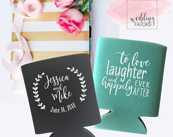 love laughter and happily ever after | Wedding Can Coolers | Wedding Party Favor | Personalized  for Bride and Groom | FREE Shipping