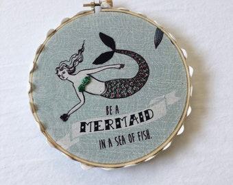Mermaid Hoop Embroidery 5in