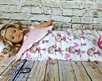 """Doll Sleeping Bag and Pillow Set in Ballet Dance Ballerina Print --  American Made to Fit Your 18"""" Girl"""