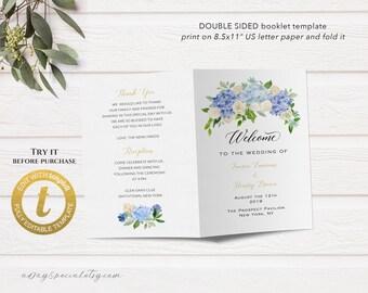 Printable Bi-fold US Letter Wedding Program Booklet Template, All Editable Blue and Cream Floral Wedding Ceremony, DIY Edit at Templett #107