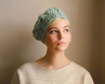 Chunky wool beret - Peppermint green