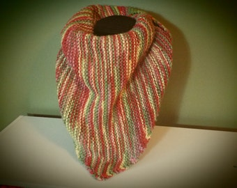 Hand Knit Triangular Scarf - Green, Yellow, Salmon, and Pink