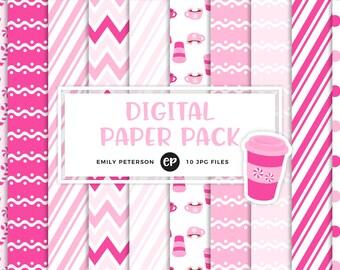 50% OFF SALE! Peppermint Mocha Digital Paper, Winter Background Paper - Commercial Use, Instant Download - V2
