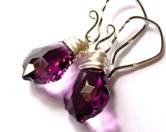 Amethyst Purple Earrings,  Swarovski Baroque Crystal Briolette Sterling Silver Wire Wrapped, Fashion, Under 25 For Women