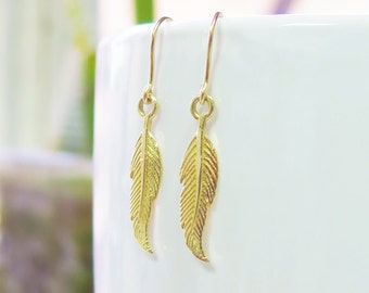 Feather Earrings, Tribal Jewelry, Gold Jewelry, Gold Feathers, Boho Chic, Boho Earrings, Bohemian Jewelry, Solid Gold, Best Friend Gift