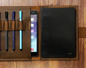 Personalized distressed leather cover organizer portfolio for A5 Moleskine Agenda Field notes notebook / leather ipad mini cover -NA5005SP