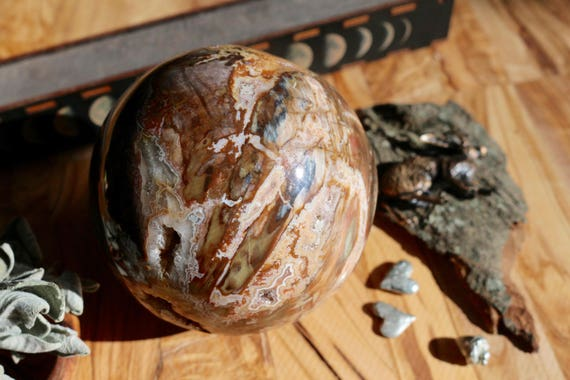 XL Petrified Wood Sphere 113mm, Colorful Petrified Wood Sphere, Polished Sphere, Crystal Ball, Madagascar Petrified Wood, Crystal Ball