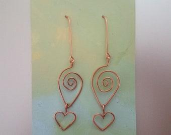 Copper wire earrings <3