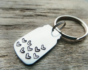 Couples Custom Keychain, Jar of Hearts,  Engagement Gift , Long Distance Relationship Stamped Aluminum Silver Keychain Key Ring