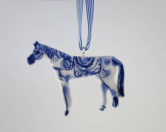 Blue and white Horse - Handpainted Porcelain - ornament