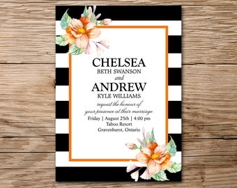 Modern Wedding Invitation, Printable Wedding, Watercolor Floral Invitation, Watercolor Invitation, Rustic Wedding Invitation, Bridal Shower