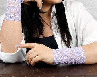 Bracelet set Lace cuff bracelet Lace wrist cuff Lace wristband Lace jewelry Tattoo cover up Lilac hippie stretch lace headband hw7053