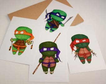 Mini Teenage Mutant Ninja Turtles Set - 4x6 Print [ TMNT  / Fan Art / Chibi ]