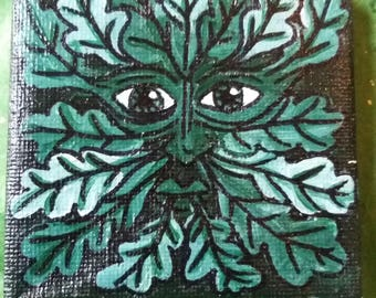 Green Man small hand painted canvas