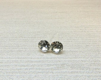 ON SALE Clear Rhinestone Earrings 5mm Plastic Post Hypoallergenic or Invisible Clip On, Clear Glass Crystal