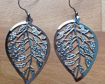 Large antique silver filigree leaf earrings