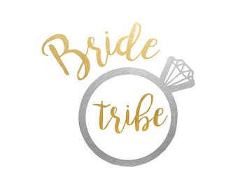 Bride Tribe set of 25 premium waterproof metallic gold and silver wedding temporary Flash Tattoos