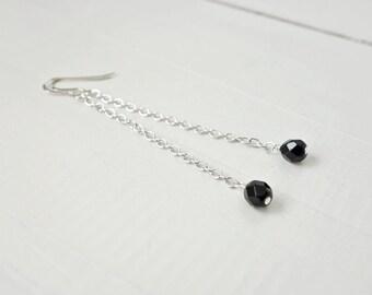 Long chain earrings black bead earrings long dangle earrings minimalist style earrings for women