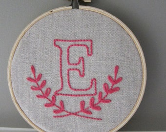 "Hand-Embroidered 4"" Hoop Wall Custom Initial Monogram on Natural Unbleached Linen"