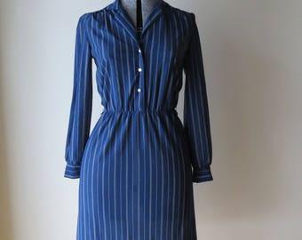 1970s navy blue striped dress/ 1970s button down dress/ vintage dress