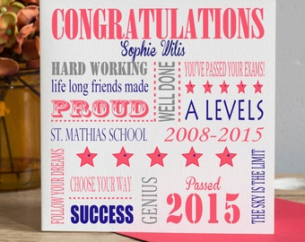 Passed Exams Card - Finished School Card - Graduation Card