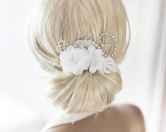 Bridal Hair comb, White Bridal flower, Fascinator, Bridal Silk Flower, Bridal Accessory, Bridal headpiece- CLARE
