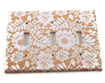 Triple Light Switch Cover Wall Decor Triple Switchplate Cover Switch Plate in  Chantilly  (199T)