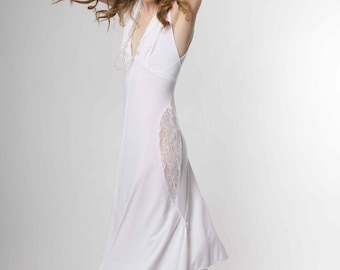 White Hooded Dress, White Dress with White Lace Insets