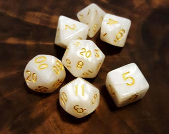 White Marble Polyhedral Dice Set