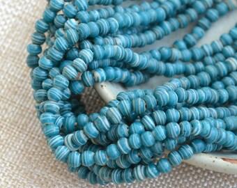 Small Round Striped Dark Turquiose Seed Beads,Indonesian Glass Beads,Round Striped Beads,Rustic Beads,Lamp Work Beads,One Strand,BB17-1026