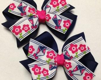 "Set of 2 pigtail bows 4"" Kite m2mg MTMG navy blue shocking pink hair bow clip birthday party pinwheel baby toddler teen spring summer flying"