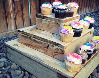 Rustic Cupcake Stand, Rustic Cake Stand, Rustic Party, Rustic Wedding, Rustic Decor, Party Decor, Party Food Display