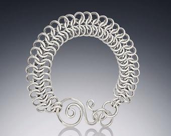 Silver adjustable flat chain maille bracelet