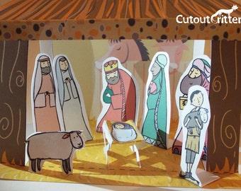 Christmas Nativity Cutout and make set, including baby Jesus, Mary, Joseph and the Three Kings cutout