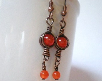Earrings - Orange Glass Cat's Eye Beads and Copper Wire Wrapped Triangles with Red Aventurine Dangles, Glowing Rusty Orange Earrings