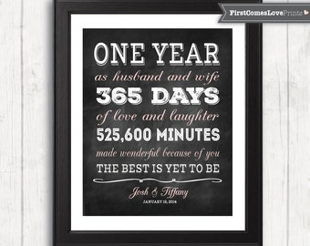 Chalkboard style first anniversary gift for husband for wife