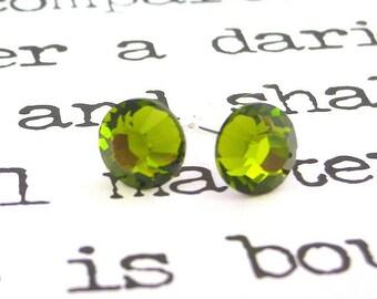 Olivine green Swarovski crystal stud earrings, 7mm olive green crystal post earrings, 7mm olive studs