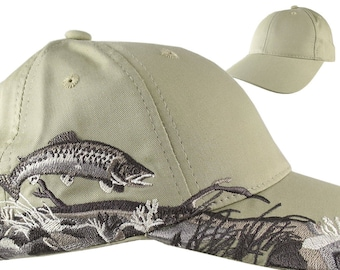 Custom Personalized Trout Large Embroidery on an Adjustable Full Fit Beige Baseball Cap Front Decor Selection with Options for Side and Back