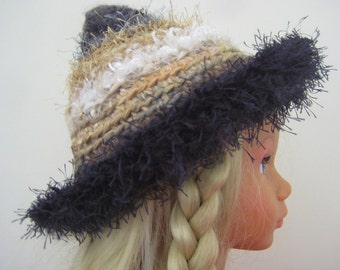 Warm Winter Pixie Hat Beanie Charcoal White Ochre Grey