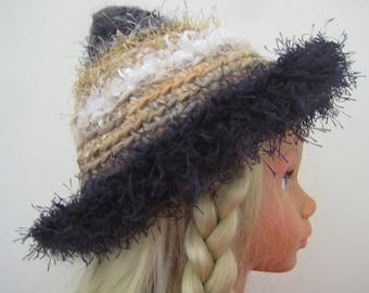 Warm Winter Pixie Hat Beanie Charcoal White Ochre Grey