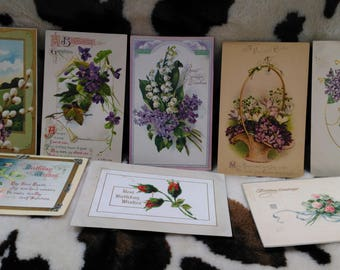 Vintage 1910s Postcards Floral Flowers Birthday Easter Some Printed in Germany Mailed Stamped 1 cent  Lot A (2)