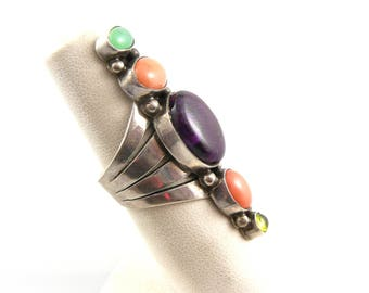 HUGE Vintage 1970s 80s Rose Castillo Draper NAVAJO Sterling & Gemstones RING Size 5.75