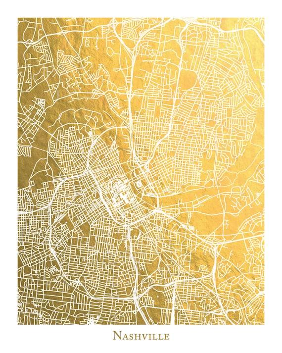 Nashville Map Nashville Print Nashville Wall Art Gold Wall