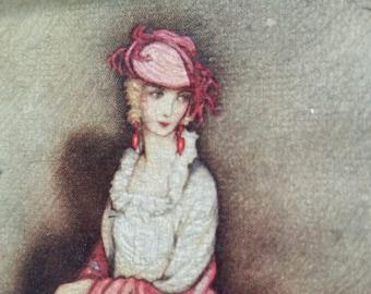 "Two Jennie Harbour, Original Oilettes, Circa 1915, 4"" X 6"""